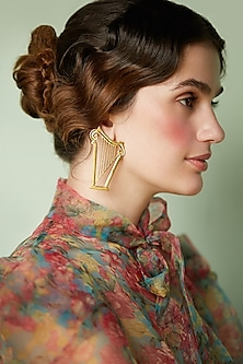 Gold Plated Harp Earrings by ZOHRA