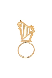 Gold Plated Harp Ring by ZOHRA