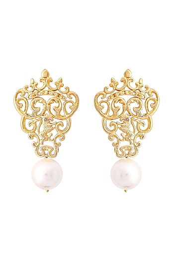 Gold Plated Marguerite Pearl Earrings by ZOHRA