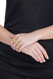 Gold Finish Handcrafted Geometric Ring by ZOHRA
