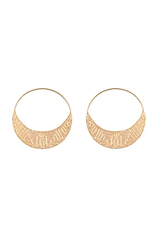 Gold Finish Handcrafted Inscription Hoop Earrings by ZOHRA