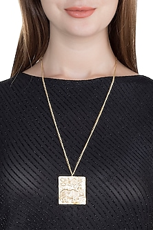 Gold Finish Handcrafted Rhino Seal Pendant Long Necklace by ZOHRA