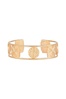 Gold Finish Handcrafted Geometric Patterned Bracelet by ZOHRA
