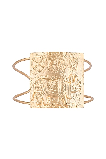 Gold Finish Handcrafted Rhino Seal Motif Cuff by ZOHRA