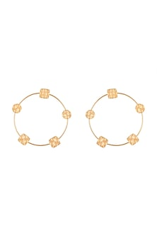 Gold Finish Handcrafted Hoop Earrings by ZOHRA