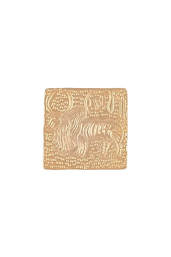 Gold Finish Handcrafted Zebu Ring by ZOHRA