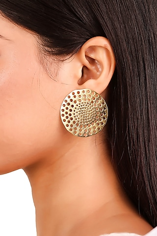 Gold Plated Stud Earrings by Zohra