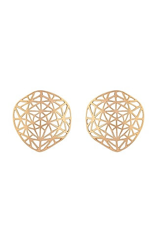 Gold Plated Geometric Stud Earrings by Zohra