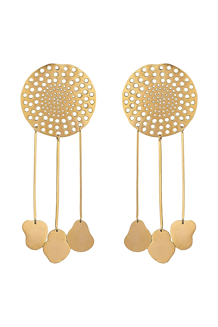 Gold Plated Handcrafted Dangler Earrings by Zohra