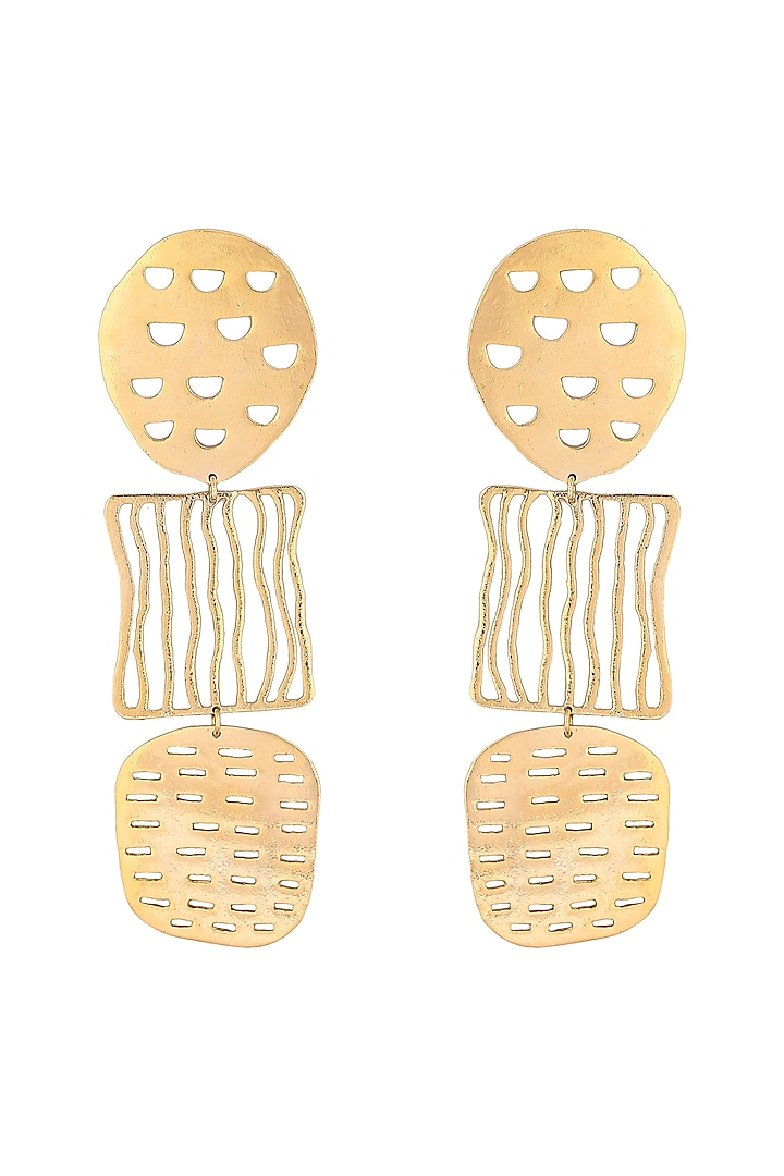 Gold Plated Earrings With Cutwork by Zohra