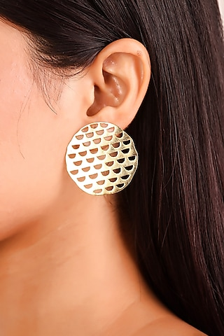 Gold Plated Minimalistic Earrings by Zohra