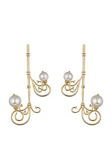 Gold Finish Dangler Earrings by ZOHRA
