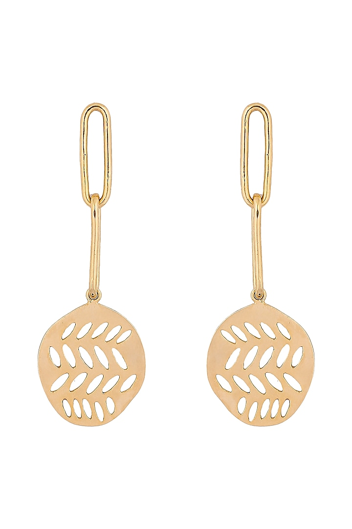 Matte Gold Plated Earrings With Chain by Zohra
