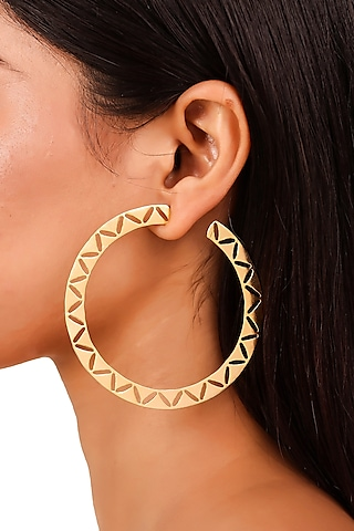 Matte Gold Plated Hoop Earrings by Zohra