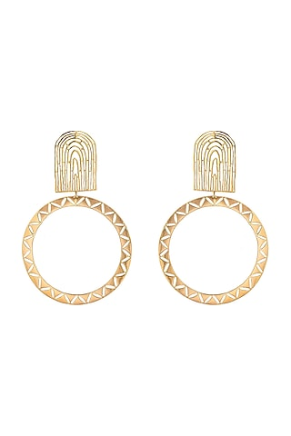 Matte Gold Plated Earrings by Zohra