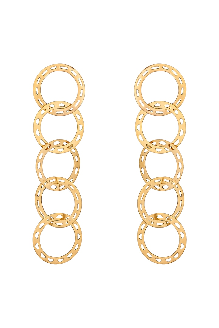 Matte Gold Plated Disk Earrings by Zohra