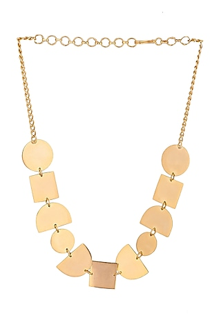 Matte Gold Plated Choker Necklace by Zohra