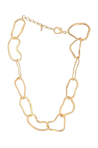Matte Gold Plated Necklace by Zohra