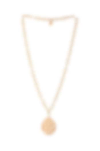 Matte Gold Plated Necklace With Lined Chain by Zohra