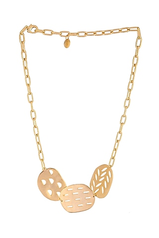 Matte Gold Plated Klara Necklace by Zohra