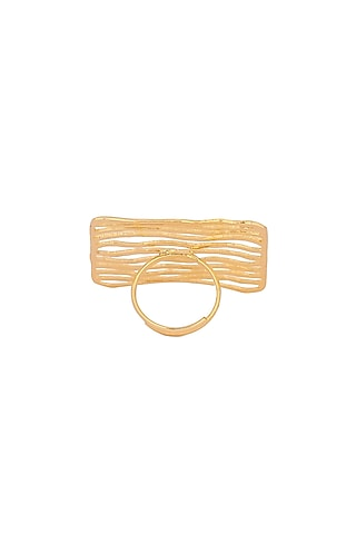 Matte Gold Plated Handcrafted Ring by Zohra