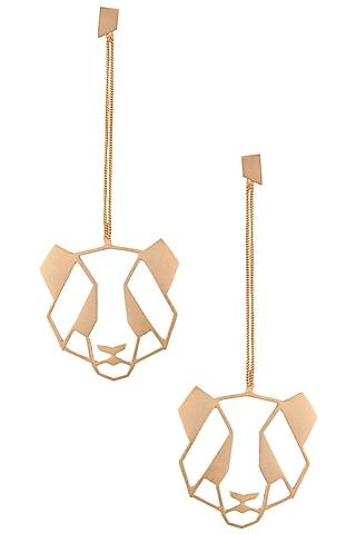 Gold plated panda earrings by ZOHRA