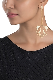 Gold plated panda earrings by ZOHRA