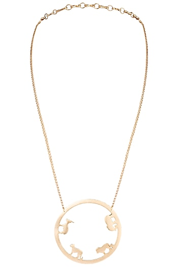 Gold plated small round ode necklace by ZOHRA