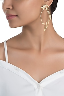 Gold plated bird of paradise earrings by ZOHRA