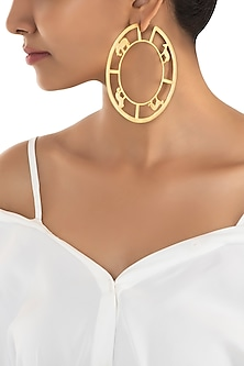 Gold plated bayo hoop earrings by ZOHRA