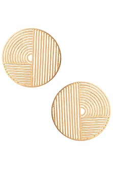 Gold plated geometric circle earrings by ZOHRA