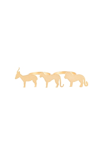 Gold plated animal silhouette isabis ring by ZOHRA