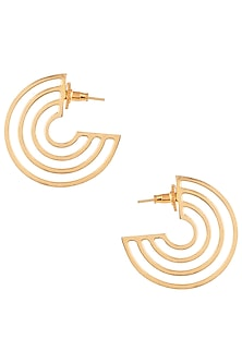 Gold plated cutwork disc earrings by ZOHRA
