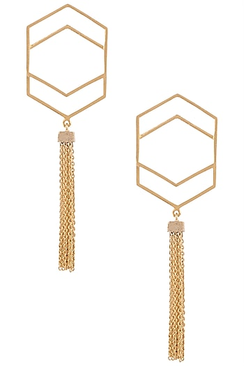 Gold plated double hexagon tassel earrings by ZOHRA