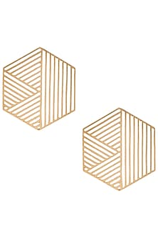 Gold plated hexagon earrings by ZOHRA