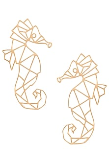 Gold plated seahorse earrings by ZOHRA