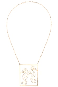 Gold plated seahorse necklace by ZOHRA