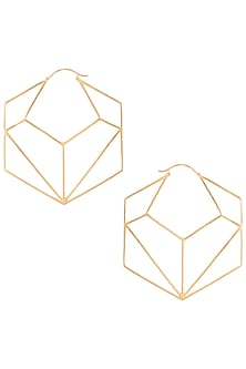 Gold plated geometric hexagon hoop earrings by ZOHRA