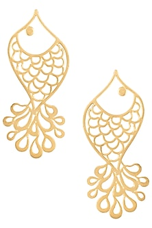 Gold plated fish earrings by ZOHRA