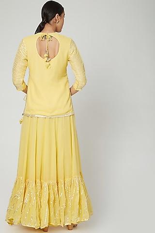 Yellow Embroidered Kali Lehenga Set by Zari Jaipur