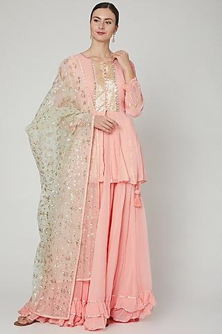 Peach Embroidered Lehenga Set by Zari Jaipur