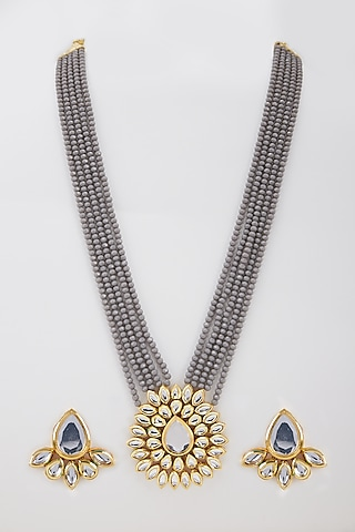 Gold Finish Handcrafted Kundan Necklace Set by Zerokaata