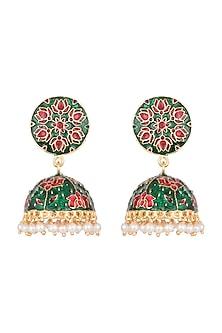 Gold Plated Pink & Green Lotus Meenakari Jhumka Earrings by Zerokaata