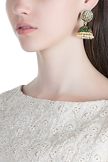 Gold Plated Pink & Green Lotus Meenakari Jhumka Earrings by Zerokaata