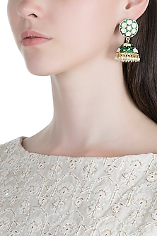 Gold Plated White & Green Lotus Meenakari Jhumka Earrings by Zerokaata