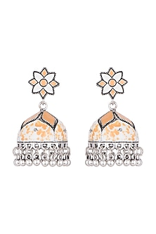 Silver Plated White & Orange Meenakari Jhumka Earrings by Zerokaata