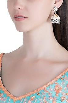 Silver Plated White & Orange Meenakari Jhumka Earrings by Zerokaata