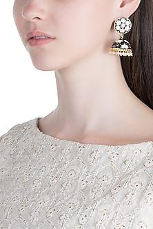 Gold Plated White & Black Lotus Meenakari Jhumka Earrings by Zerokaata