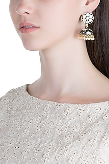 Gold Plated White & Black Lotus Meenakari Jhumka Earrings by Zerokaata