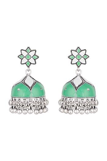 Silver Plated Meenakari Jhumka Earrings by Zerokaata